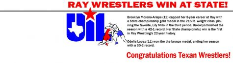Brooklyn Moreno-Arispe Wins Ray's First Ever Girls Wrestling Gold at State