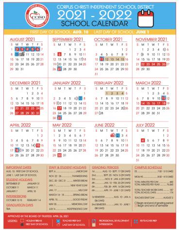 CCISD 2021-22 Calendar